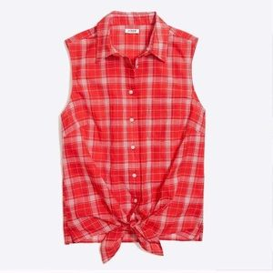 J.Crew Sleeveless Button Down Tie Front Plaid Top